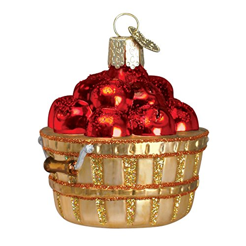 Apple Collection - Old World Christmas Glass Blown Ornament with S-Hook and Gift Box, Fruit Collection (Apple Basket)