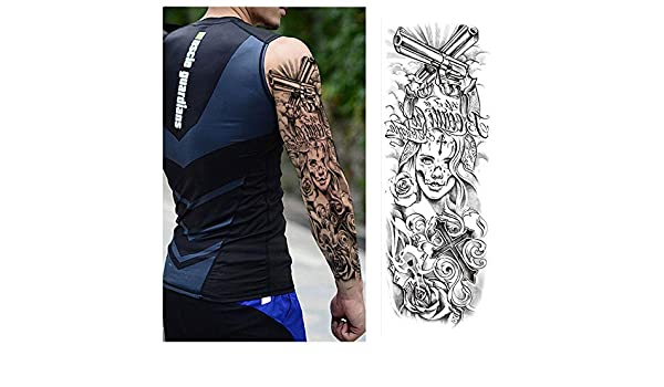 7pcs Tatuaje plata Ultra Negro Oro metálico grande Brazo completa ...