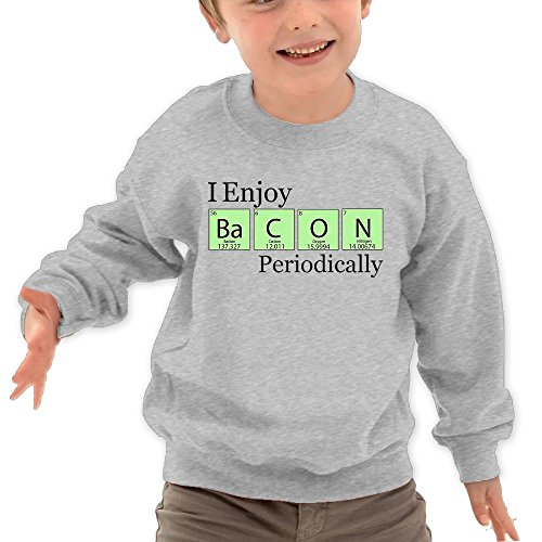Puppylol I Enjoy Bacon Periodically Kids Classic Crew-neck Pullover Sweatshirt Ash 2 Toddler