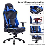 KILLABEE Big and Tall 400lb Memory Foam Gaming Chair – Adjustable Tilt, Back Angle and 3D Arms Ergonomic High-Back Leather Racing Executive Computer Desk Office Chair Metal Base, Blue Review