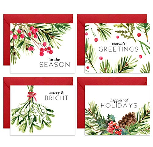 (Watercolor Greenery Holiday Card Boxed Set: 12 Premium Christmas Cards with Kraft Envelopes Box Set - Blank Happy Holidays Greeting Card Bulk Pack - Proudly Made in the USA By Palmer Street Press (12))