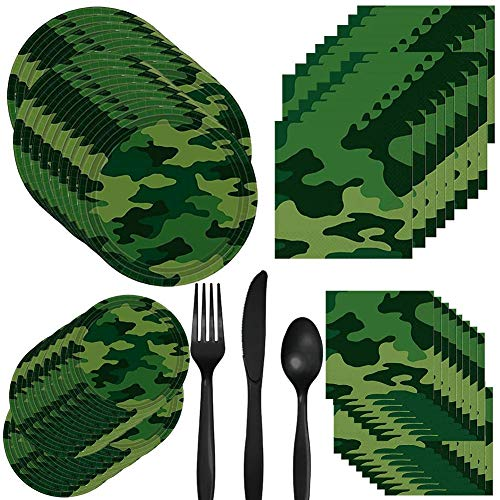 Camo Camouflage Military Welcome Home or Birthday Party Pack Set Serves 16 – Luncheon & Dessert Paper Plates, Napkins & Cutlery – Disposable Party Supplies for Food and -