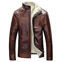 JIAX Men's Casual Winter Warm Sheep Skin Leather Coat Jacket Lamb Wool Lined