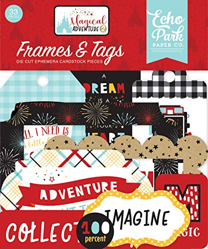 (Echo Park Paper Company MAG177025 Magical Adventure 2 Frames & Tags Ephemera, Black, red, Yellow, Teal, Kraft)