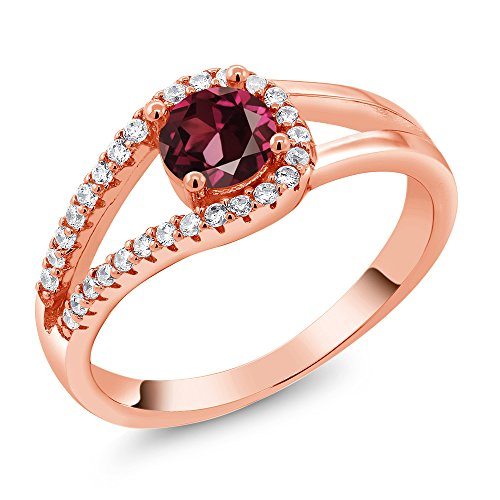 0.99 Ct Round Red Rhodolite Garnet 18K Rose Gold Plated Silver Ring Size 7