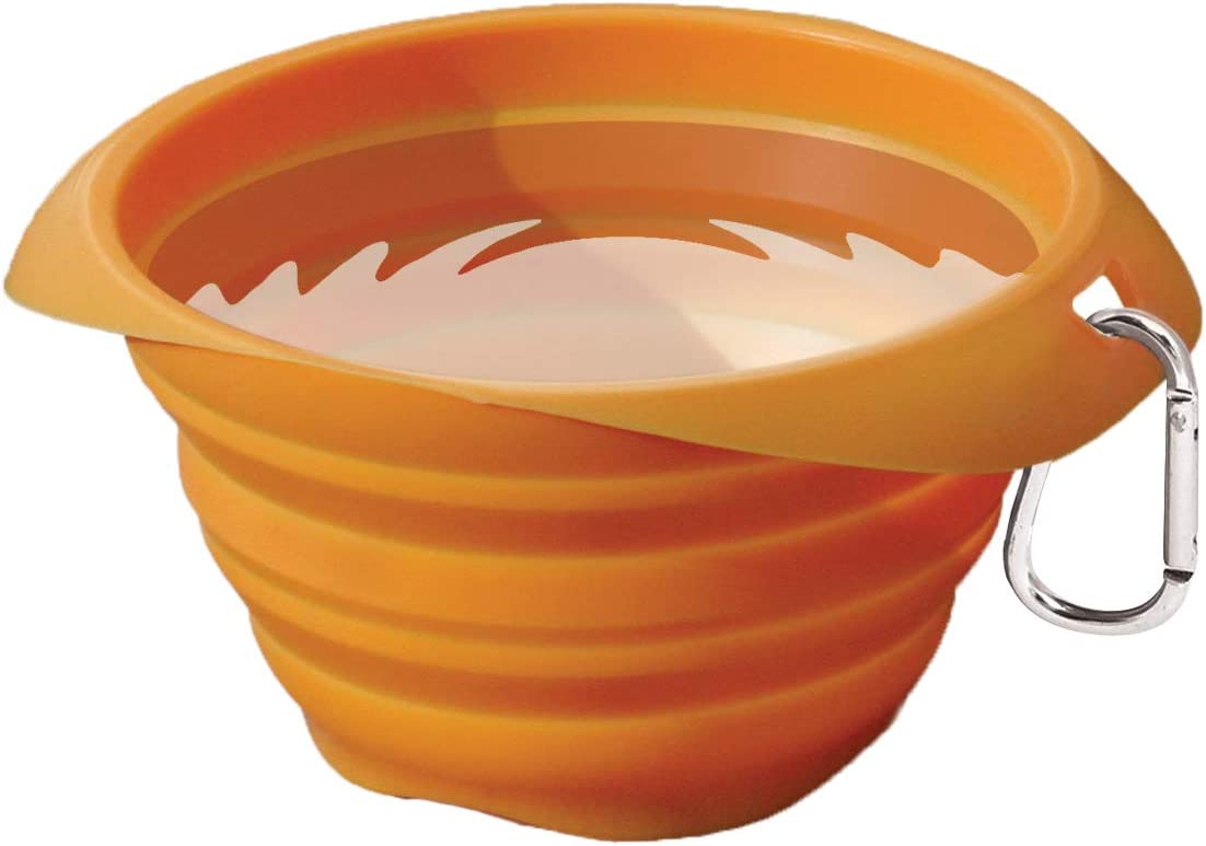 Kurgo Collapsible & Portable Travel Dog Bowl for Food & Water   Portable Water for Dogs   Food Grade Silicone Collapsible Dog Bowl   Pet Travel Accessories   BPA Free   Holdsup to 24 oz (Orange)