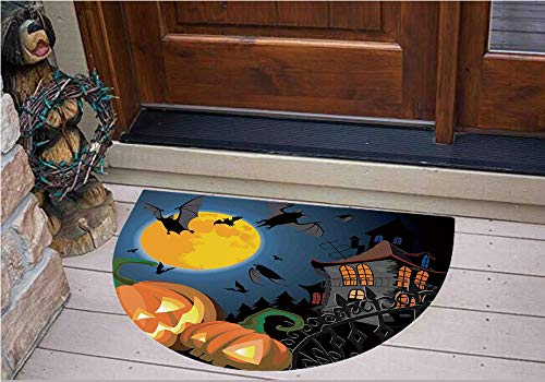 3D Semicircle Floor Stickers Personalized Floor Wall Sticker Decals,Halloween Haunted House Party Theme Decor Trick,Kitchen Bathroom Tile Sticker Living Room Bedroom Kids Room Decor Art Mural D39.4