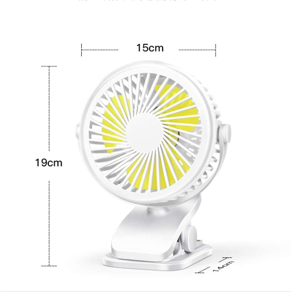 Mogicry Portable USB Desk Fan USB Rechargeable Battery Powered Fan for Baby Stroller Home Office Outdoor 360/° Rotation Cooling Fan with Clip Ultra Quiet Works Up to 15 Hours Color : Black