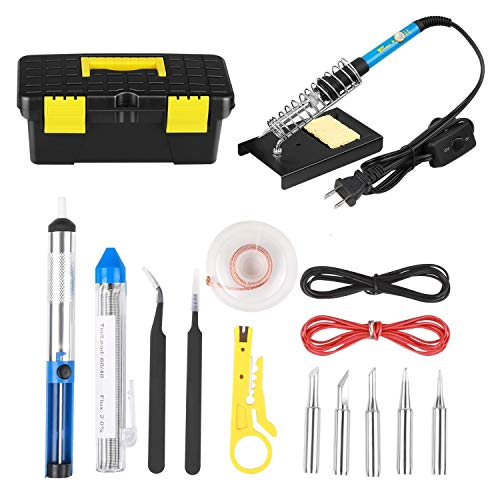 Soldering Iron Kit- Amzdeal 60W 15 in 1 Soldering Tools Adjustable Temperature Welding Tool with 5 Changeable Soldering Tips, Soldering Iron Stand, Solder Sucker for DIY Projects and Repairing