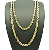"Jinao Jewelry Hip Hop Rapper's 5mm 24"", 6mm 30"" Rope Chain 2 Necklace Set Gold Tone"