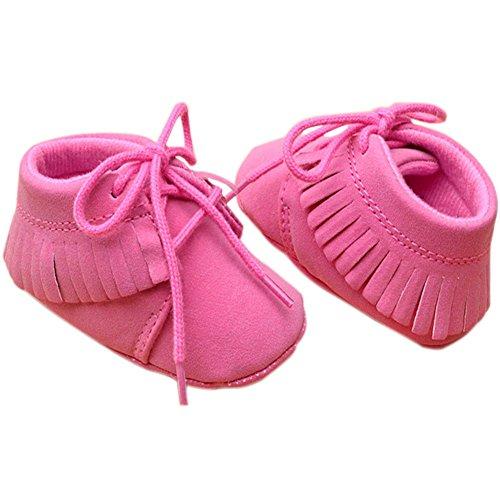 etrack-online bebé niños niñas Tassel Soft Sole zapatos de tipo Mocasín 2colores 3tamaño caqui Talla:12-18months hot pink