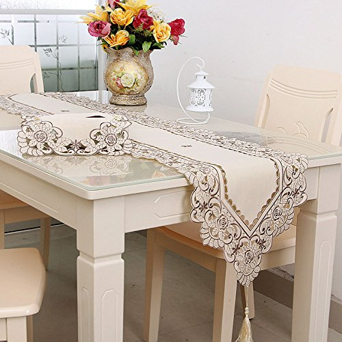 Lelehome Classic Flowers Embroidered Lace Short Satin Floral Washable Fabric Table Runner Table Top Decoration Tapestry - Beige Flower(15 inch x 97 inch)