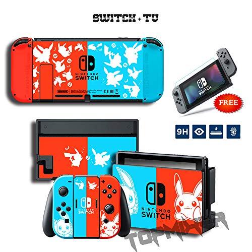 Topmixer NS Full Set Elegant VINYL SKIN PIKACHU Sticker Compatible with Nintendo Switch Console and Joy-Con Controllers Free High Resolution Screen ()