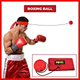 #4: Reflex Boxing Ball on String with Headband for Fight MMA Training Speed Adult/Kids Gift Improve Punch Focus Sport Exercise Practice Fitness Trainer Elastic Head Band Set Cap Hat Puncher by POAGL