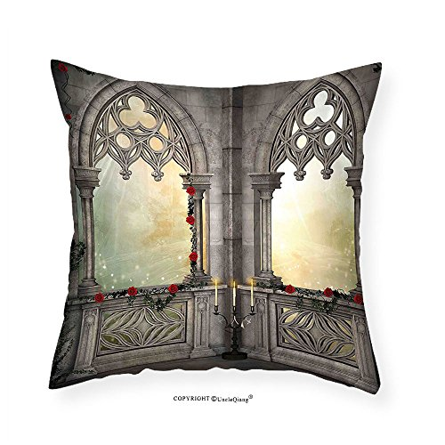 VROSELV Custom Cotton Linen Pillowcase Gothic Decor Vintage Ottoman Palace Balcony for Sultans with Red Rose Flowers Ivy Terrace Image for Bedroom Living Room Dorm Beige 18