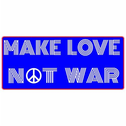 U.S. Custom Stickers Make Love Not War Blue Red Bumper Sticker, 6