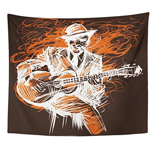 Emvency Tapestry Black Music Guitarist Guitar Player Blues Man with Expression Electric and Jazz Rock N Roll Abstract Home Decor Wall Hanging for Living Room Bedroom Dorm 50x60 Inches ()