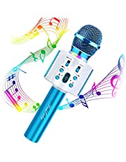 FISHOAKY Wireless Bluetooth Karaoke Microphone, 3 in 1 Portable Kids Karaoke Mic Player with colorful LED and Magic Voice, for Home, KTV, Camping, Birthday Party