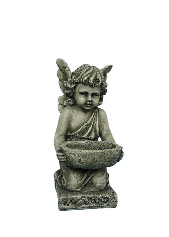 Hi-Line Gift Ltd Angel Holding Bowl Multi-Purpose Birdfeeder Statue All Line 75590-SS