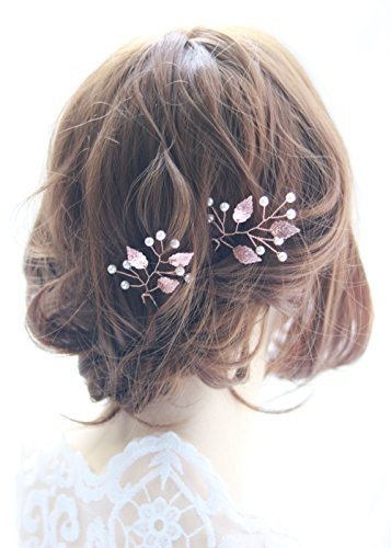 FXmimior Bridal Rose Gold Leaf Hair Pins Bridal Women Vintage Leaf Headpiece Wedding Party Crystal Hair Accessories (Pack of 2)