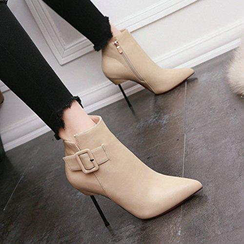 KHSKX-High Heels Frau Schuhe Leder - Gürtelschnalle Spitzen Stiefeln Nachtclub Sexy Super - Und Ohne Schuhe Beige
