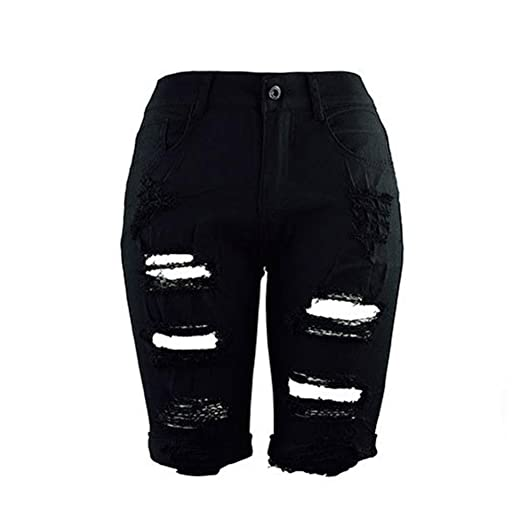 a890d34ce4b0 Goodlock Women Casual Denim Pants Destroyed Bermuda Shorts Jeans with Hole  Ripped (Black, Small