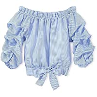 Fashion Kids Baby Little Girls Top Off Shoulder Shirt Ruffle Striped Bow Clothes Set