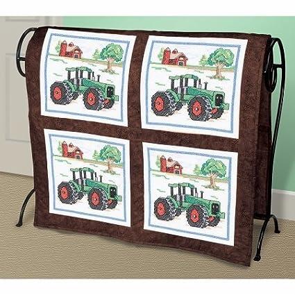 Janlynn 21-1476 Tractor Quilt Blocks Stamped Cross Stitch-15X15 6//Pkg