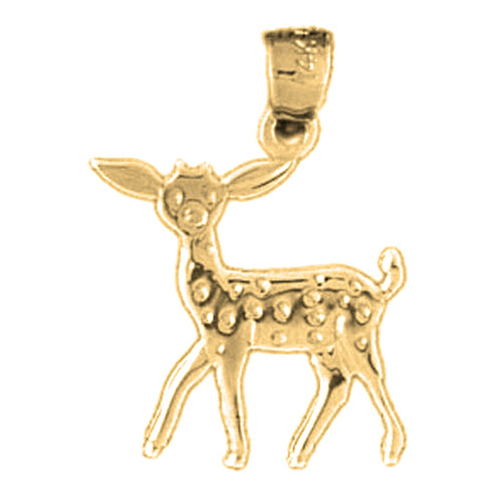 23 mm 14K Yellow Gold Deer Pendant Jewels Obsession Deer Charm Pendant