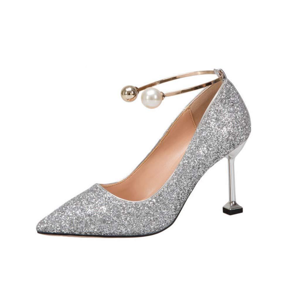 argenty 37 EU AJUNR Femmes Loisirs Chaussures De Mariage Femmes Printemps Robe 8Cm Talons Hauts Crystal Mariée De Chaussures