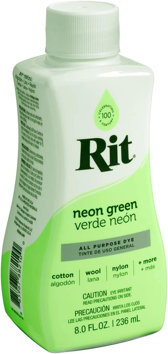 Rit All-Purpose Liquid Dye, 8 oz, Neon Green, 8 Fl oz