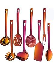QIBORUN Stainless Steel Kitchen Utensil Set -8 Cooking Utensils, Plated Set Kitchen Tools Gadgets Cake Shovels
