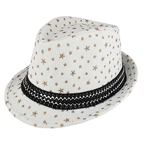 Trendy Apparel Shop Kid's Glitter Star Print Fedora Hat with Metallic Hat Band - (Metallic Fedora Hat)