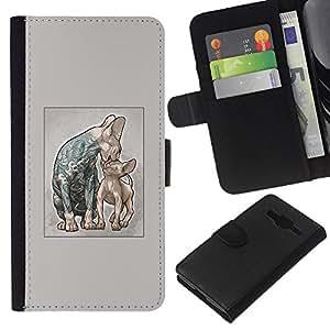 LECELL--Cuero de la tarjeta la carpeta del tirón Smartphone Slots Protección Holder For Samsung Galaxy Core Prime -- Gatos tatuada - Gatos de la prisión - Sphynx --