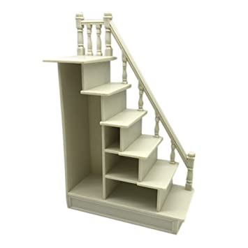 BESTLEE DIY Dollhouse Miniature Plastic Stairs With Right Handrail