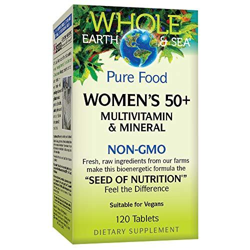 Whole Earth & Sea from Natural Factors, Women's 50+ Multivitamin & Mineral, Whole Food Supplement, Vegan and Gluten Free, 120 Tablets (60 ()