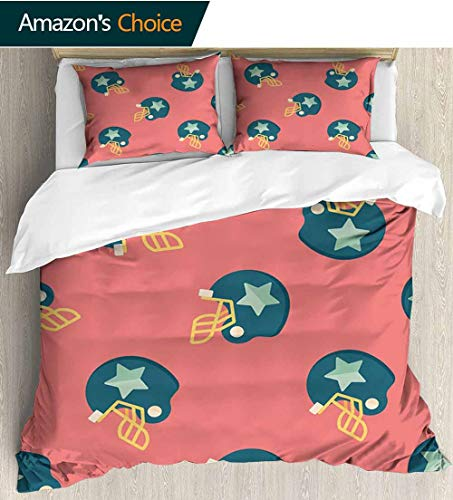 - shirlyhome Football Home 3 Piece Print Quilt Set,Sports Icons with Stars Retro Display Game Safety Headgear with 2 Pillowcase for Kids Bedding 87