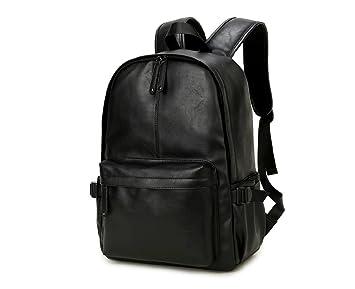NingDom PU Leather Strong Backpack Laptop Book Bag Vintage School College Rucksack Black