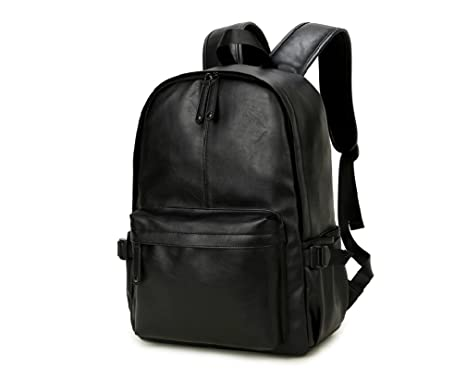 Amazon.com  NingDom PU Leather Strong Backpack Laptop Book-bag ... daa83ff1e9b32