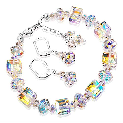 HisJewelsCreations Crystal Bracelet Romance and Earrings Set with Aurora Borealis Crystals by Swarovski Adjustable 7