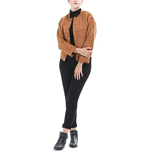 Honghu Mujer Casual Ocio Chaqueta Abrigos Otoño e Invierno Mangas Largas Slim Corto Outwear Coat
