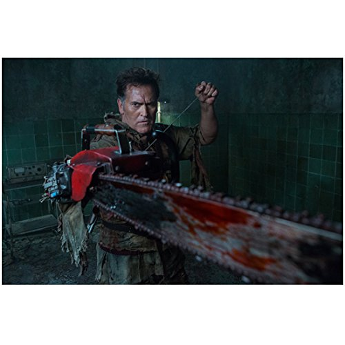 Ash vs Evil Dead (TV Series 2015 - ) 8 Inch x 10 Inch Photo Bruce Campbell Holding Up Bloody Chainsaw kn