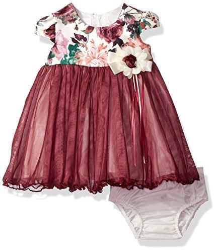 - Bonnie Baby Baby Girls Ballerina Party Dress, Burgundy, 12 Months