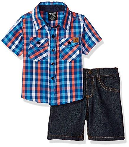 American Hawk Baby Boys 2 Piece Plaid Woven Shirt and Denim Short Set, Multi Plaid, 24M