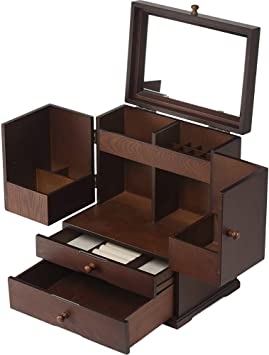 Amazon.com XHRHao Makeup Organizer with Drawers Mirror Wood