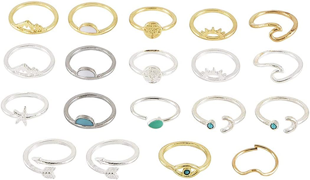 Valentine/'s Day Gift Moon Ring Anniversary Gift Creative Retro Simple Alloy Joint Ring Star Ring Astral Crescent Ring Set Joint Ring