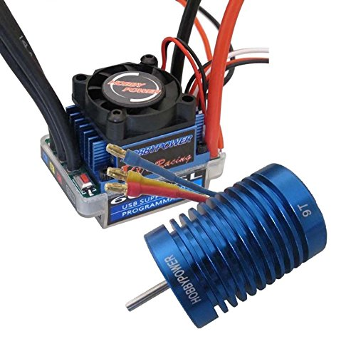 powerday 60A ESC Brushless Speed Controller + 9T 4400KV BL Motor for 1/10 1/12 RC Car