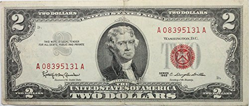(1963 $2 Dollar Bill with Red Seal in Very Good Condition)