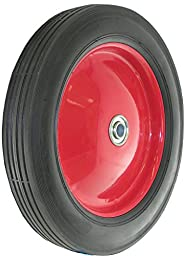 Shepherd Hardware 9596 10-Inch Semi-Pneumatic Rubber Tire, Steel Hub with Ball Bearings, Ribbed Tread, 1/2-Inch Bore Centered Axle