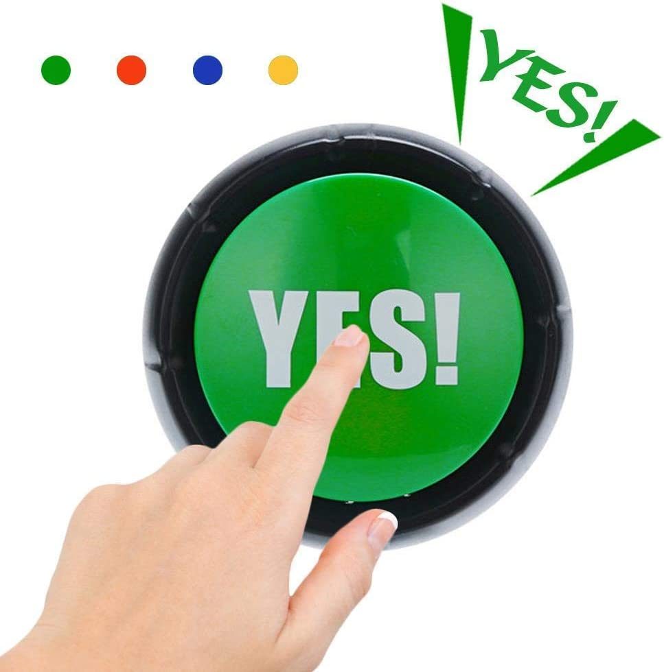 Yes Button Desktop Sound Toy Great for Fun Stress Reliever, Party Games Tools Holiday Supplies Board Games Toy Gift (YES Sound Button)